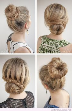 Lovely 4 hairstyles for a sock bun...having fun with my longer hair after having a pixie for 4 years!!!