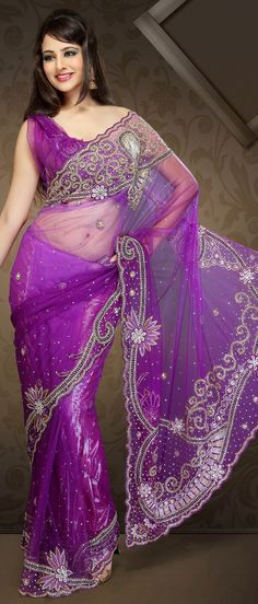 #Purple Net #Saree with Blouse @ $292.30