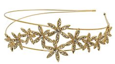 L. Erickson Florentine Flower Crystal Headband features two ultra thin metal bands with shimmering flowers adorning the side. This glittering double headband sits above the hairline and looks stunning on all hair types. #hairaccessories #sparkles
