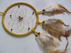 JUNGFRAU - Gelber TRaumfänger mit Tigerauge Perlen von Traumnetz.com  - Kraft der Steine   Besondere Geschenke auf DaWanda.com