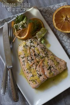 Salmon fillets in orange sauce, the second fish dish Calamari Recipes, Fish Recipes, Seafood Recipes, Healthy Foods To Eat, Healthy Cooking, Cooking Recipes, Healthy Recipes, Food To Go, Food And Drink