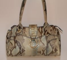 Charlie Lapson - Blue and Gold Moc Croc Handbag You can find this item and more on www.handbagconsignmentshop.com