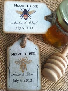24 Qty Meant To Bee Honey Wedding Shower Favors With Dipper & Personalized Tags. $79.00, via Etsy.