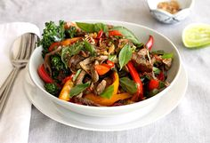 Light, bright, crunchy and moreish. We love this with a side of steamed brown rice, quinoa or rice noodles. Beef Recipes, Healthy Recipes, Healthy Meals, Healthy Food, Thai Basil Beef, Beef Strips, Fried Shallots, Different Diets, Beef Stir Fry