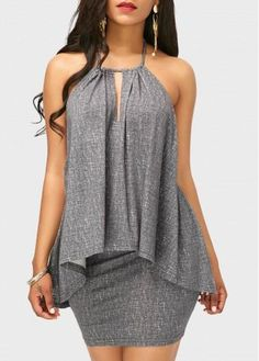 rotita.com - unsigned Asymmetric Hem Halter Neck Top and Grey Skirt - AdoreWe.com