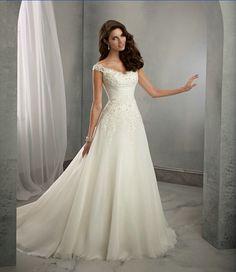 Casamento A line Cap Sleeves Long Lace Wedding Dresses