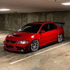 Evo in Parking lot. Tuner Cars, Jdm Cars, Fancy Cars, Cool Cars, Street Racing Cars, Mitsubishi Cars, Evo 9, Mitsubishi Lancer Evolution, Toyota Cars