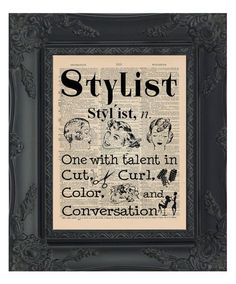 Stylist Dictionary Print Hair Salon Decor Stylist by OldBookSmith