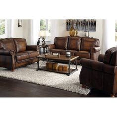 2 pc Darby home co linglestown montbrook hand rubbed brown finish leather sofa and love seat set. Set includes the Sofa and love seat with a nail head trim and wood feet. Sofa measures x x H. Love seat measures x x H. Real Leather Sofas, Brown Leather Furniture, Leather Sofa And Loveseat, Genuine Leather Sofa, Leather Living Room Furniture, Leather Sofa Set, Sofa Couch, Brown Leather Couches, Brown Sofa