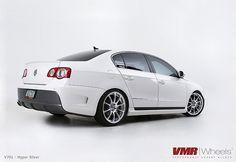 VMR Wheels Hyper Silver on Volkswagen Passat White Passat Vw, Jetta Mk5, Porsche Wheels, Volkswagen Golf Mk1, Gas Monkey, Vw Cars, Passat Variant, Car Wrap, Vans