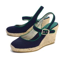 Pre-owned Bettye Muller Navy & Green Canvas Wedges ($69) ❤ liked on Polyvore