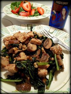 sauteed kale, tempeh, mushrooms & walnuts with a spinach & strawberry side salad ~ happy meatless monday!
