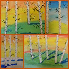 Birch trees in watercolour. Tutorial.