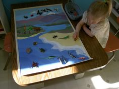 Inspired Montessori - Canvas map of Land, Air and Water animals