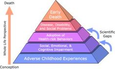 "The ACE pyramid has five layers. The bottom layer represents ""adverse childhood experiences"". Next is ""social, emotional, and cognitive impa..."