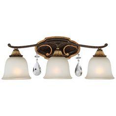 Metropolitan Lighting Chateau Nobles Raven Bronze With Sunburst Gold Highlight Three Light 24 Inch Bath Light On SALE