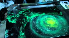 Green Galaxy - Spray paint demo by Markus Fussell. This is definely a genius. I absolutely love it