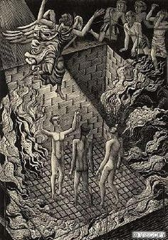 Eric Ravilious, Young Men in the Fiery Furnace, 1929