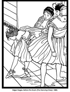 Welcome to Dover Publications Impressionist Art Stained Glass Coloring Book looking over ledge Dance Coloring Pages, Coloring Book Pages, Edgar Degas, Art Activities, Famous Artists, Colorful Pictures, Oeuvre D'art, Art History, Illustration