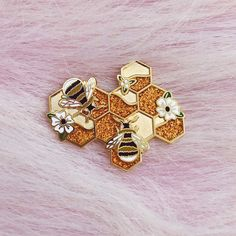 honeycomb floral glitter honey bee flowers enamel lapel pin badge by lilly baik.