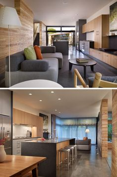 In this Seattle home, the space flows from the living room, to the kitchen, to…