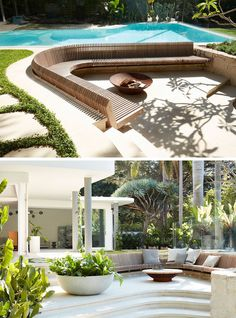 This modern backyard features a swimming pool and a large, curved, slightly sunken, built-in wood slat seat that focuses on the fire bowl. Outdoor Fire, Outdoor Seating, Outdoor Spaces, Outdoor Living, Indoor Outdoor, Outdoor Decor, Curved Outdoor Benches, Modern Backyard, Backyard Patio