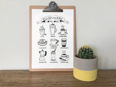 Melbourne Coffee Lover illustrated icons A3 by VicinityStore