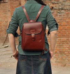Handmade Genuine Leather Women's Backpack Day Pack Satchel Small ...
