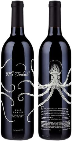 The way the octopus wraps around the bottle  is neat. It's an intricate yet simple design that's visually striking and interesting.