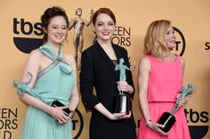 Andrea Riseborough, Emma Stone and Amy Ryan, winners of Outstanding Performance by a Cast in a Motion Picture for 'Birdman,' pose in the press room at the 2015 SAG Awards