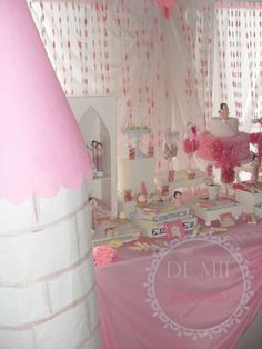 Decorations at a pink fairy birthday party! See more party planning ideas at CatchMyParty.com!