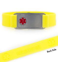 ActiveWear Yellow Silicone Medical Alert Bracelet