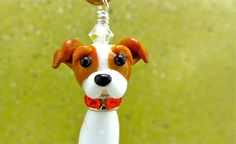 Jack Russell Lampwork Bead Dog Pendant Ornament by SUZOOM on Etsy, 35.00
