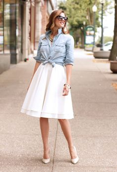 chambray shirt.  white skirt
