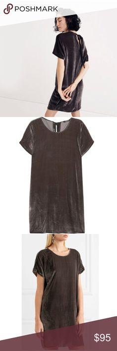 Madewell Velvet Tie Back Dress NWOT dark grey velvet material   feel free to make an offer  no trades  only poshmark Madewell Dresses