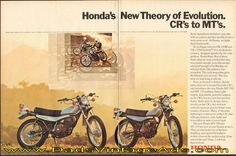 1973 Honda's new theory of evolution – CR's to MT's Vintage Honda Motorcycles, Motocross Racer, Theory Of Evolution, Honda S, Dirt Bikes, Racing, Classic, Competition, Fun