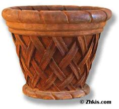 Basket Style Planter With beautiful latticework on the outside and beautiful molded top and bottom rims. Made from durable fiberglass and is outdoor suitable for year-round weather. Large Garden Planters, Indoor Planters, Planter Pots, Steampunk Design, Large Baskets, Urn, Basket Weaving, Artisan, Columns