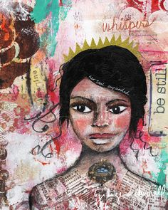 Whispers: Giclee Reproduction From Original mixed media collage painting by Ginger Deverell, RedPearCreative, $23.18