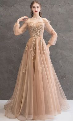 CHAMPAGNE TULLE LACE LONG PROM DRESS CHAMPAGNE TULLE LACE EVENING DRESS  by olesaweddingdresses, $135.64 USD Champagne Evening Dress, Grey Evening Dresses, Elegant Dresses, Pretty Dresses, Beautiful Dresses, Unique Formal Dresses, A Line Evening Dress, Dress Formal, Bridesmaid Dresses