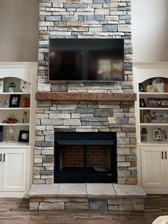 Airstone Fireplace, Fireplace Tv Wall, Basement Fireplace, Fireplace Update, Brick Fireplace Makeover, Fireplace Built Ins, Farmhouse Fireplace, Fireplace Remodel, Fireplace Mantels