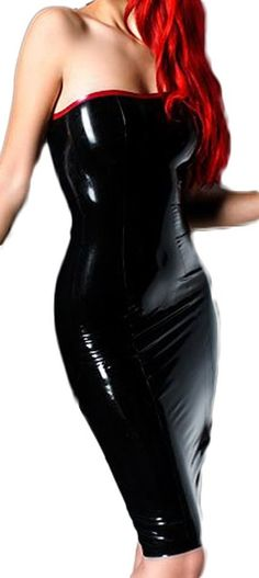 AvaCostume Women's Sexy Latex Strapless Tube Dress, XXS, ArmyGreen