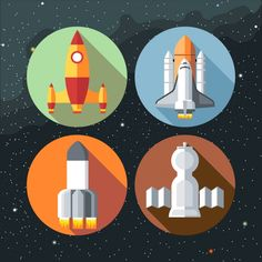 Four different rockets Free Vector