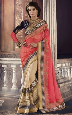 Fancy Pink and Beige Designer Premium Saree