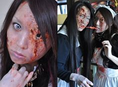 "Schatzkiste is a maid café located in Chiyoda, Tokyo. In tune with the Halloween season, the maids are dressed as zombies. It's not just a simple zombie costume, however — they've made it look like a real zombie apocalypse. As each day passes, the maids' bodies ""decay"" and the virus ""progresses."""