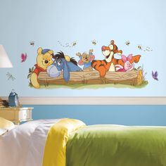 These Pooh and Friends Outdoor Fun Peel and Stick Wall Decals feature lovable Winnie the Pooh as well as your other favorite characters from the Hundred Acre Wood. They will amuse and delight, and make a bedroom extra special. Disney Baby Rooms, Disney Nursery, Baby Disney, Disney Mural, Disney Theme, Disney Cars, Winnie The Pooh Nursery, Disney Winnie The Pooh, Nursery Themes