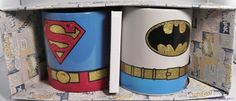 Superman and Batman Glitter Costume Set The logos and bottoms of the costume have glitter on, the top piece does not. Superman, Batman, Mugs Set, Toys For Girls, Main Street, Dc Comics, Gadgets, Costumes, Glitter