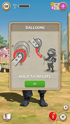 Clumsy Ninja. Help dialogue diagrams how to pop balloons