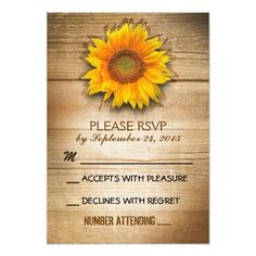 Spring RSVP Wedding Invitations rustic wood country sunflower wedding RSVP Card