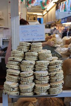~ Welsh cakes fresh off the griddle ~ Swansea market ~ Wales, UK ~