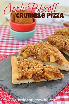Apple Biscoff Crumble Pizza - pizza crust topped with Biscoff spread, apples, and a crumble topping with oats and Biscoff cookies